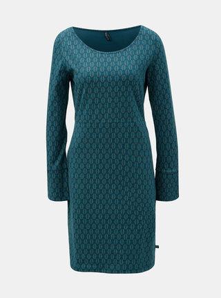 Tmavozelené šaty a motívom listov a rozparkom na rukávoch Tranquillo Hemera