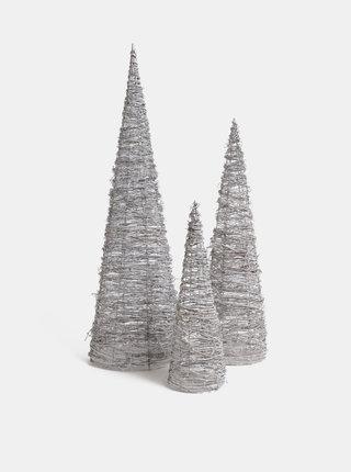 Set de 3 copaci luminosi albi din ratan Dakls