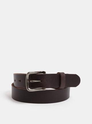 Tmavě hnědý kožený pásek s vyměnitelnými sponami v dárkovém balení Jack & Jones Belt Gift Box