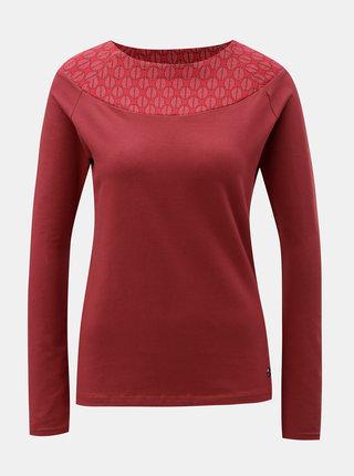 Červené tričko so vzorovanou časťou v dekolte Tranquillo Cleo