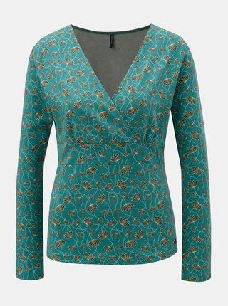 Zelené vzorované tričko s prekladaným výstrihom Tranquillo Allanzu