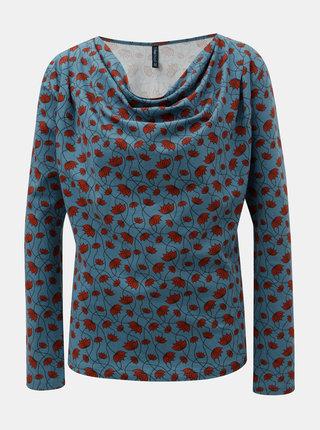 Modré vzorované tričko s riasením vo výstrihu Tranquillo Ersa