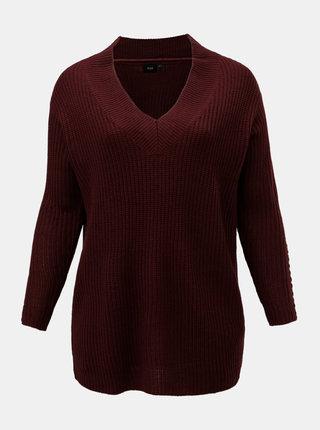 Vínový voľný sveter Zizzi