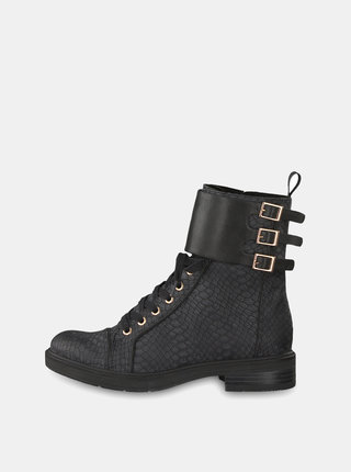 Čierne členkové topánky s imitáciou hadej kože a koženými detailmi Tamaris