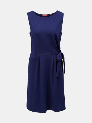 Tmavomodré šaty s viazaním na boku s.Oliver