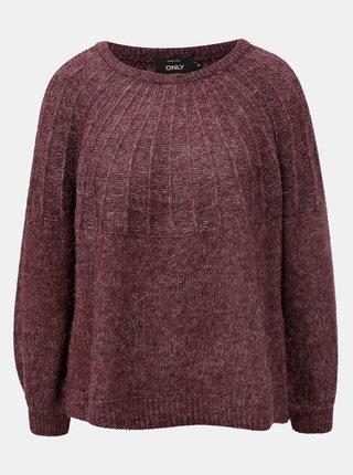 Vínový melírovaný sveter s prímesou vlny ONLY Hanna