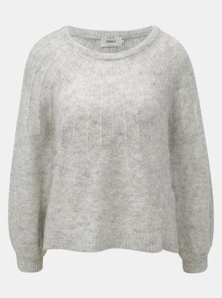 Světle šedý žíhaný svetr s příměsí vlny ONLY Hanna