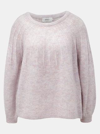 Světle růžový žíhaný svetr s příměsí vlny ONLY Hannah