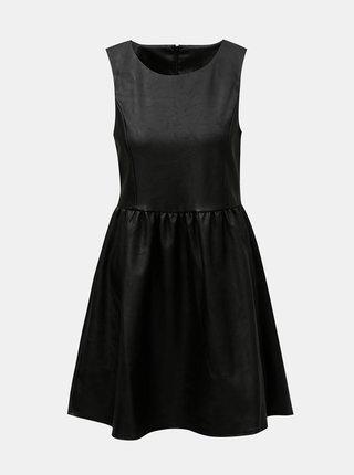 Čierne koženkové šaty ONLY Wilshire