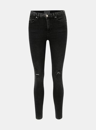 Tmavě šedé zkrácené skinny džíny s potrhaným efektem Miss Selfridge Lizzie
