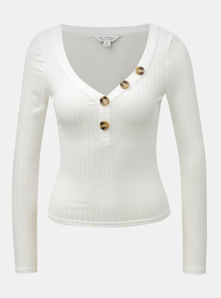 Bílé krátké tričko s dlouhým rukávem a knoflíky Miss Selfridge Horn Button