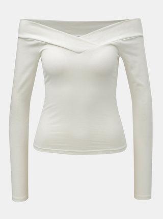 Bílé krátké tričko s odhalenými rameny Miss Selfridge Cross Over Bardot