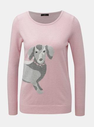 Ružový tenký sveter s motívom jazvečíka M&Co Sausage Dog