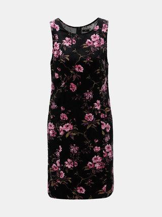 Rochie neagra florala din material reiat M&Co Flora