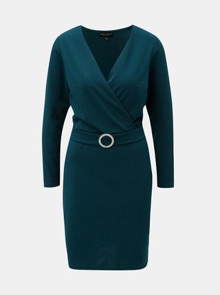 Petrolejové šaty s překládaným výstřihem Dorothy Perkins