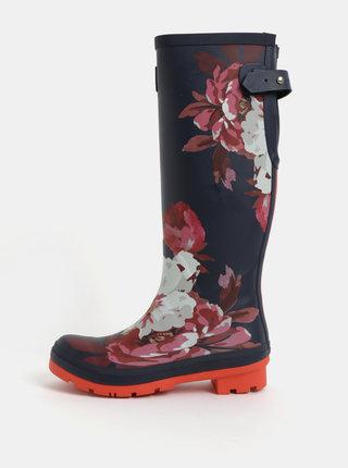 Cizme de ploaie roz-albastru de dama florale cu catarama Tom Joule Wellies