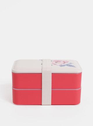 Balenie dvoch desiatových boxov v červenej a krémovej farbe s kvetinovým motívom Cath Kidston