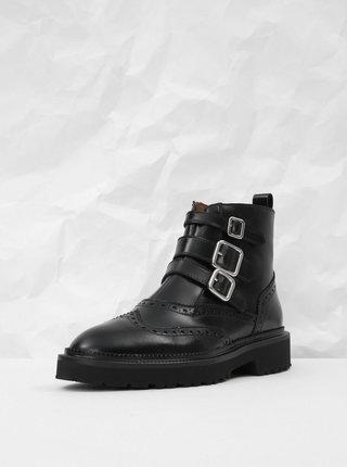 Černé kožené kotníkové boty s brogue zdobením Frau Antic