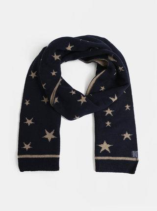 Béžovo–modrý dámsky vzorovaný vlnený šál Tom Joule