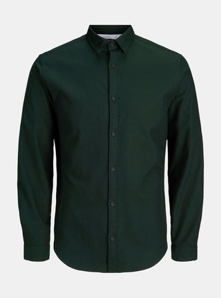 Camasa verde inchis slim fit informala Jack & Jones Ray