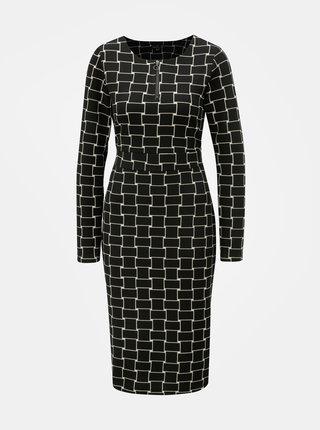 Čierne vzorované puzdrové šaty s mašľou Smashed Lemon