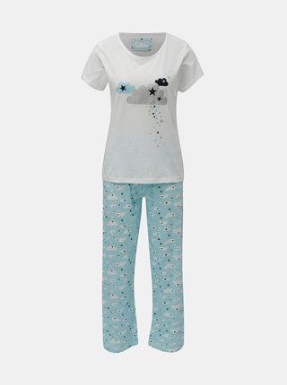 Pijama din 2 piese albastru-alb cu motiv nori si stele M&Co