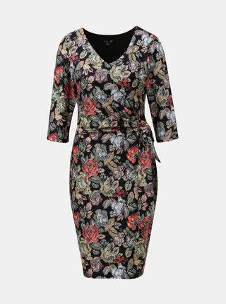 Čierne kvetované šaty s mašľou na boku Smashed Lemon