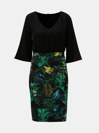 Zeleno–čierne puzdrové šaty s motívom listov Smashed Lemon