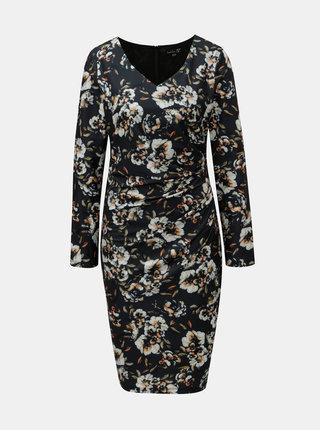 Krémovo–zelené kvetované šaty s riasením na boku Smashed Lemon