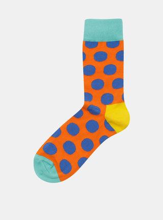Modro–oranžové unisex bodkované ponožky Happy Socks Big Dot Sock