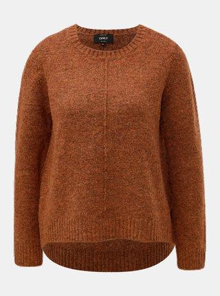 Hnedý melírovaný sveter s predĺženou zadnou časťou ONLY Loulou