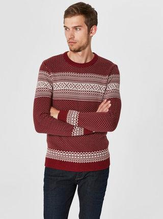 Bílo-červený svetr z organické bavlny Selected Homme Flake