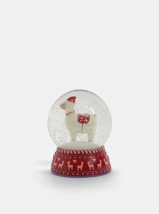 Červené vianočné snežítko s motívom lamy Sass & Belle Fa La La Lama