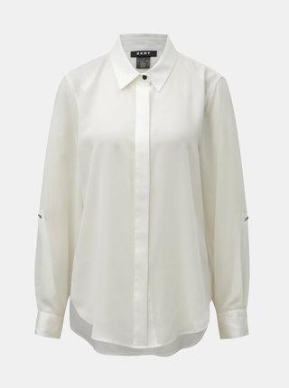 Krémová košile s prodlouženou zadní částí DKNY Foundation