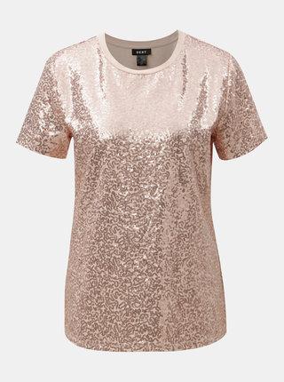 Tricou roz prafuit cu paiete DKNY Sequin