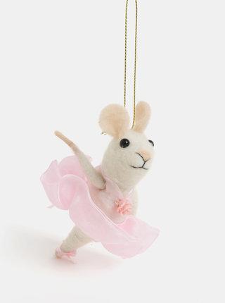 Vianočná dekorácia v tvare myšej baletky Sass & Belle Ballerina Mouse