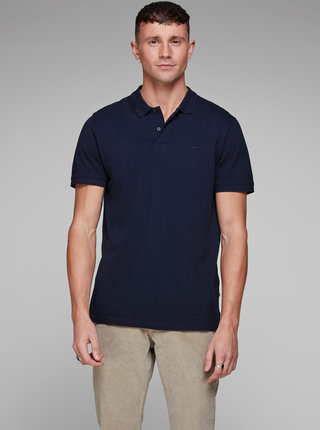 Tricou polo albastru Jack & Jones