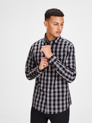 Čierno-sivá kockovaná košeľa s dlhým rukávom Jack & Jones Gingham