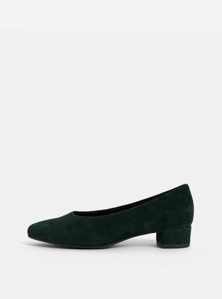 Pantofi verde inchis din piele intoarsa cu toc mic Vagabond Alicia