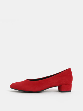 Pantofi rosii din piele intoarsa cu toc mic Vagabond Alicia
