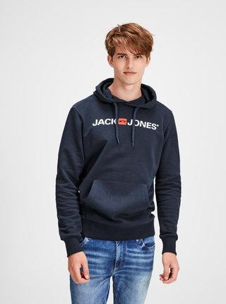 Tmavomodrá mikina s potlačou a kapucňou Jack & Jones Corp