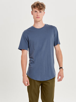 Tricou albastru basic lung ONLY & SONS Matt
