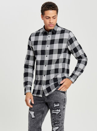 Čierno-sivá kockovaná slim košeľa s dlhým rukávom ONLY & SONS Gudmund