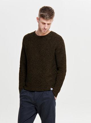 Hnědý žíhaný basic svetr ONLY & SONS