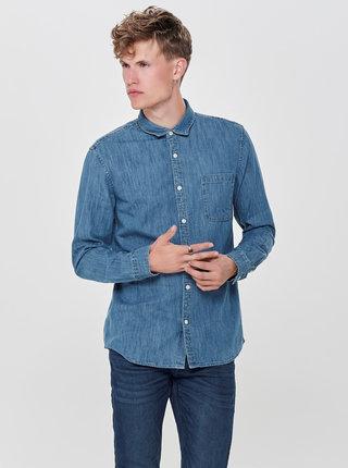 Modrá rifľová slim košeľa ONLY & SONS Kade