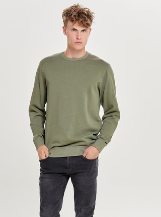 Khaki basic mikina ONLY & SONS Jayce