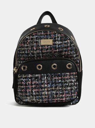 Čierny vzorovaný batoh s detailmi v semišovej úprave Bessie London