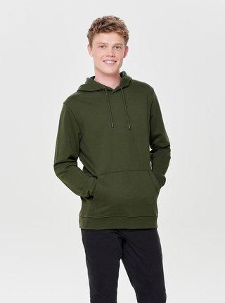 Zelená basic mikina s kapucí ONLY & SONS