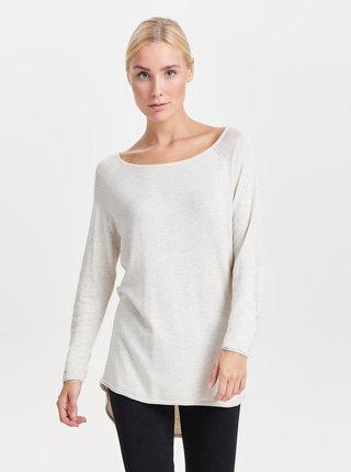 Krémový svetr s prodlouženým zadním dílem ONLY Mila