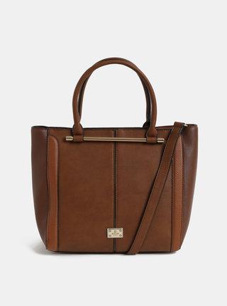 Hnedá veľká kabelka s detailmi v zlatej farbe Bessie London